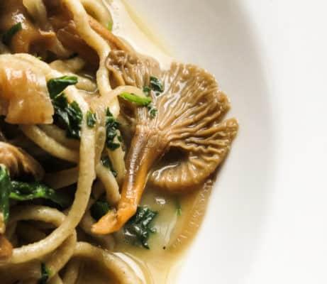 Wild rice spaghetti with yellowfoot chanterelle mushrooms