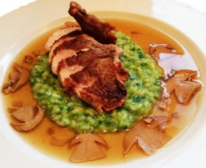Porcini Crusted Pheasant Breast With Kale Risotto And Porcini Jus.