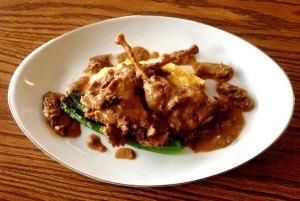 Braised Pheasant Legs In Morel Sauce With Polenta And Asparagus