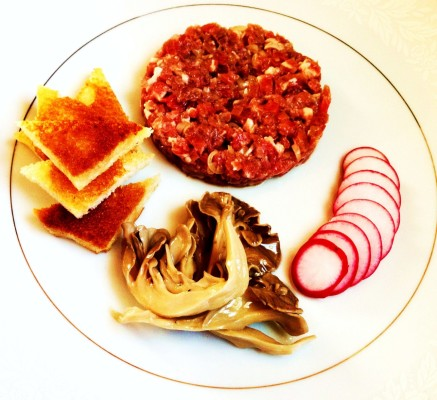 Beef Tartare with Ramp Vinaigrette, Pickled Maitakes