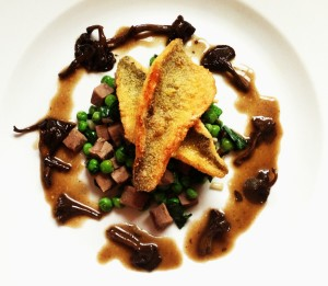 Perch, Ramps, Peas, Tongue, And Yellowfoot Chanterelle Sauce