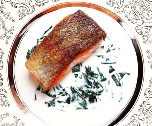 "Salmon ""A la Troisgros"", With Sheepsorrel Sauce."