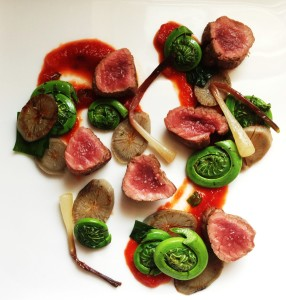 Venison Backstrap With Spring Vegetables And Ramp Ketchup