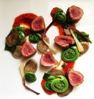 Venison Tenderloin/backstraps with spring vegetables