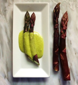 Purple Asparagus, Wtih Ramp Bearnaise Sauce