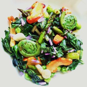Chicken Of The Woods, Spring Vegetables, Ramps, And Chive Blossoms
