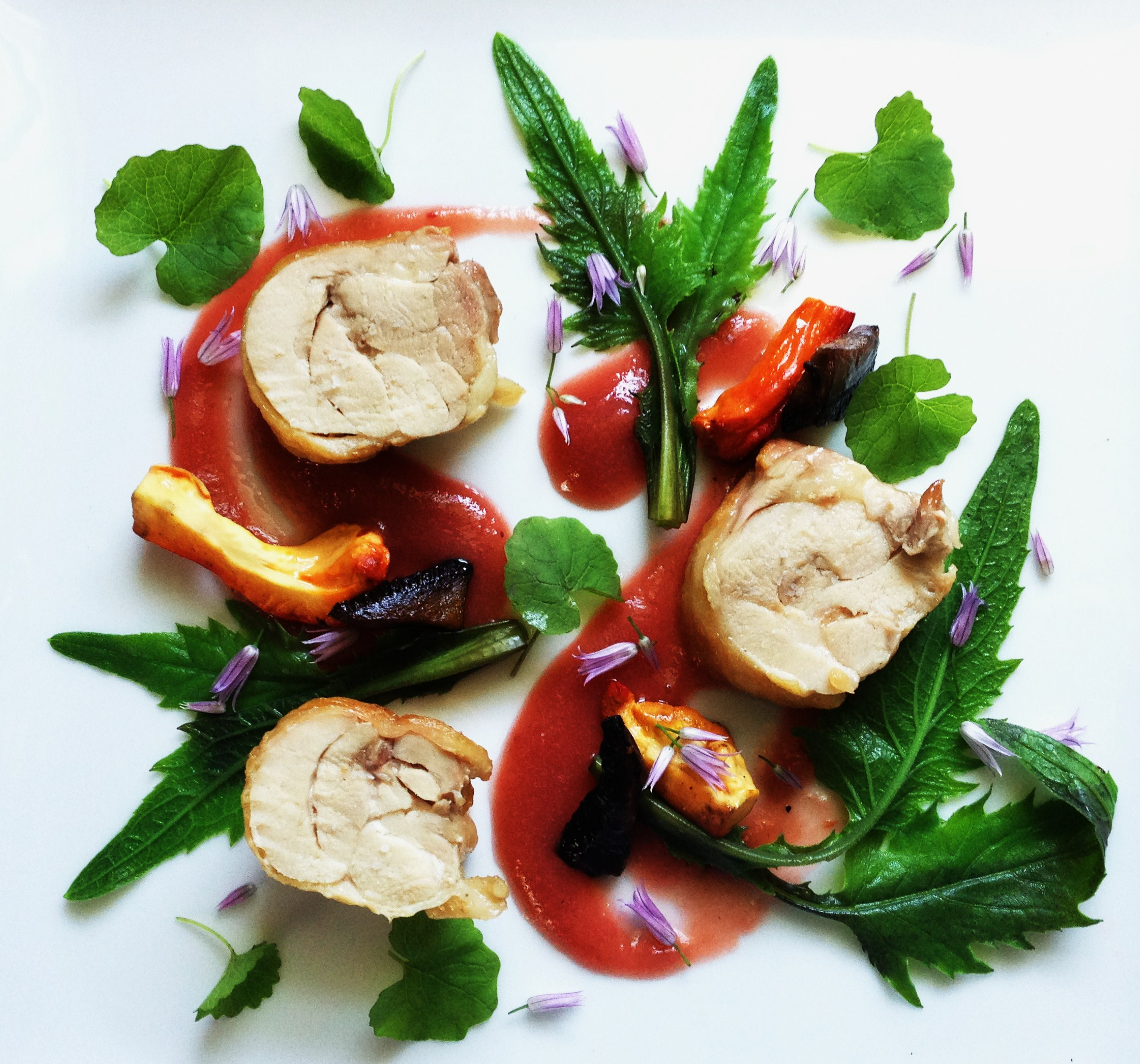 Chicken-Thigh-Roulade-with-chicken-and-agaric-mushrooms-rhubarb-sauce ...