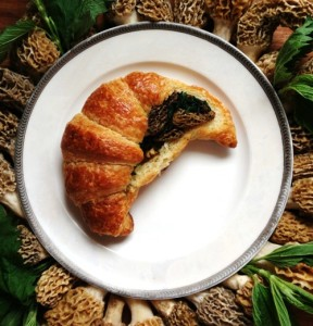 Croissant Stuffed with morel-ramp ragu and nettles