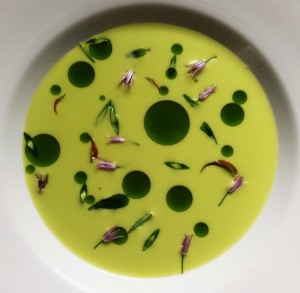 Vegan Asparagus Soup, Ramp Oil And Wild Mint