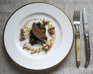 Veal Liver With Chanterelle Cream Sauce And Garlic Mustard
