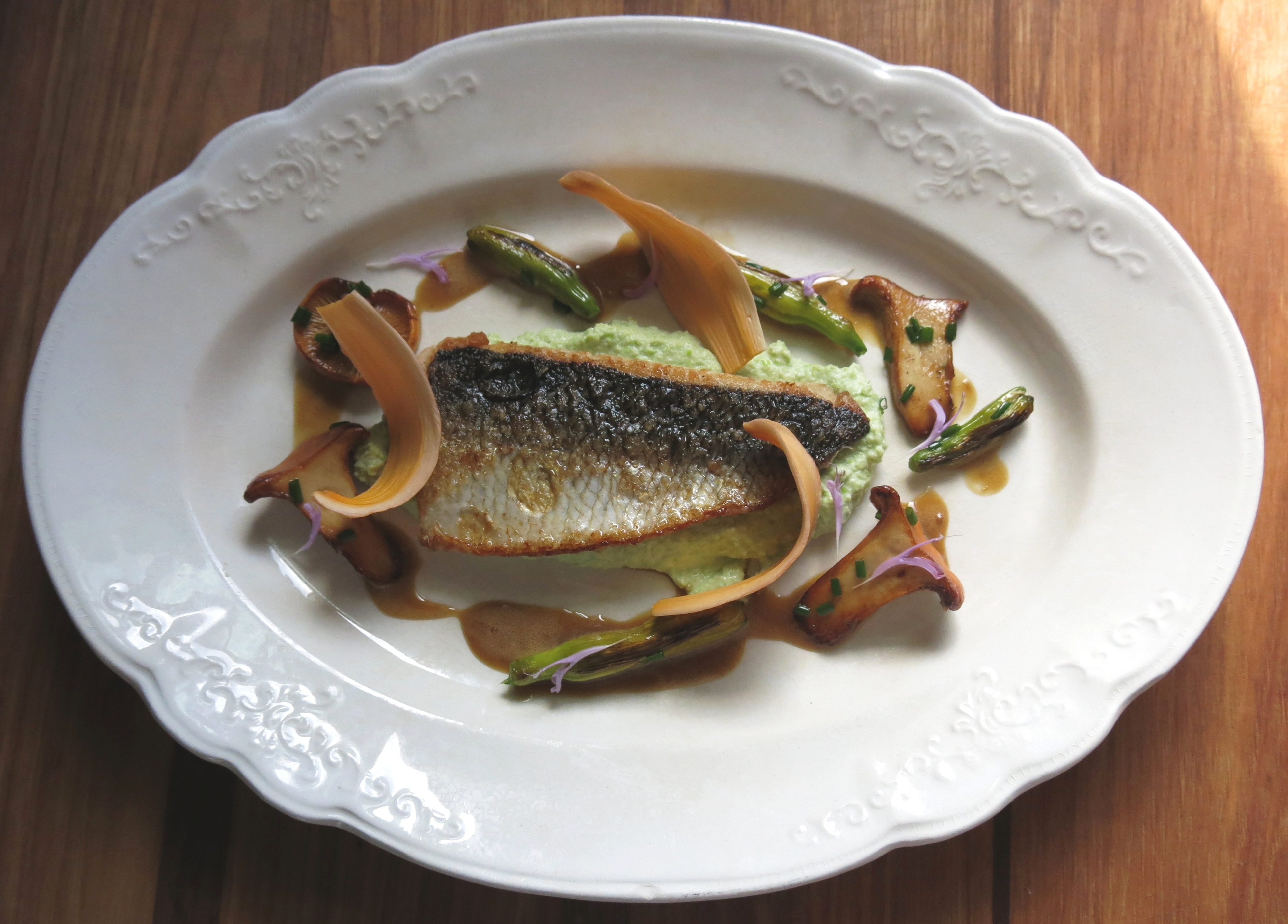 Cisco with chanterelles day lillies and endamame puree recipe