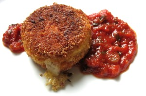 Puffball Mushroom-Cheese Croquettes, With Ramp Ketchup