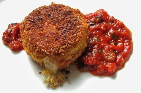 cheese stuffed puffball mushrooms with ramp ketchup.