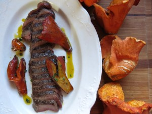 Venison Steak And Lobster Mushrooms