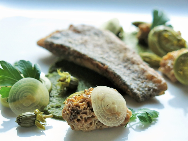 rainbow trout with preserved spring vegetables