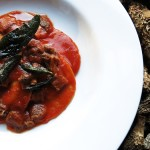 goat brain ravioli with morel tomato sauce