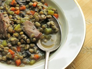 Pheasant-Lentil Soup, With Dried Boletes