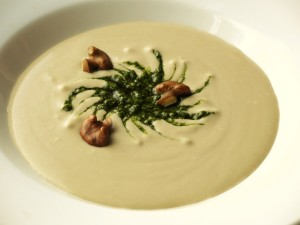 Cream of Porcini Soup With Black Walnut Pesto