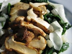 matsutake smotered grouper with kohlrabi and spinach