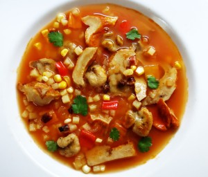 Lobster Mushroom-Entoloma Manhattan Clam Chowder