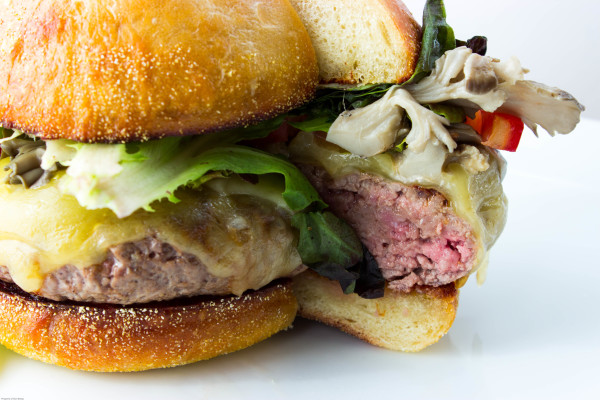 dan farmer's maitake swiss burger