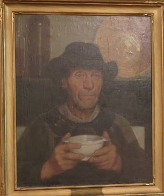 A man eating soup