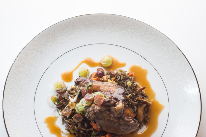 Squab with gooseberries and chanterelle wild rice_-3