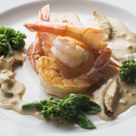 shrimp with porcini soy cream