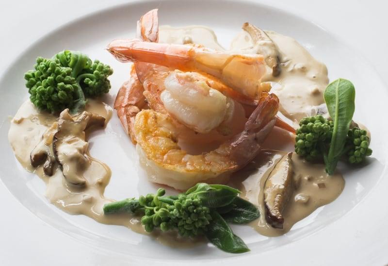 shrimp with porcini soy cream