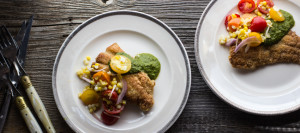 Cornmeal Catfish, Bergamot Salmoriglio Sauce, Tomato-Corn Salad