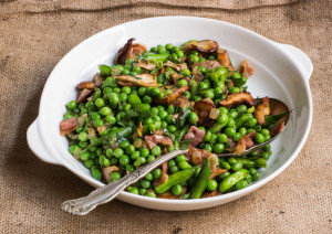 Peas With Porcini, Proscuitto, And Radish Snaps
