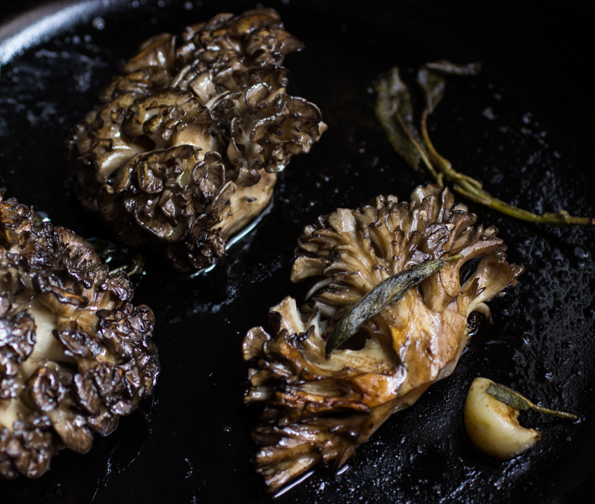 Roasted Hen of the woods steaks with anchovy sauce_-6