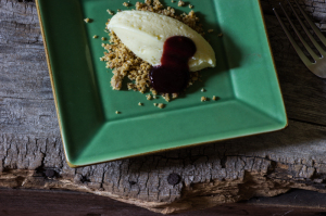 Quark-Lime Mousse, Black Walnut Praline, Currant Coulis
