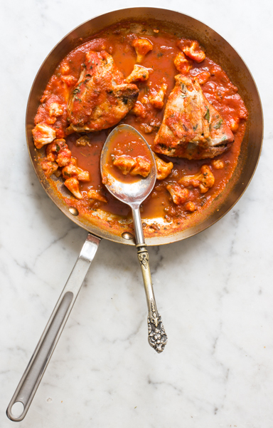 swordfish with lobster mushroom stuffing and tomato bergamot sauce