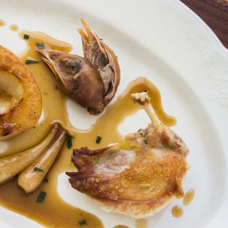 partridge with pears and pickled ramps recipe