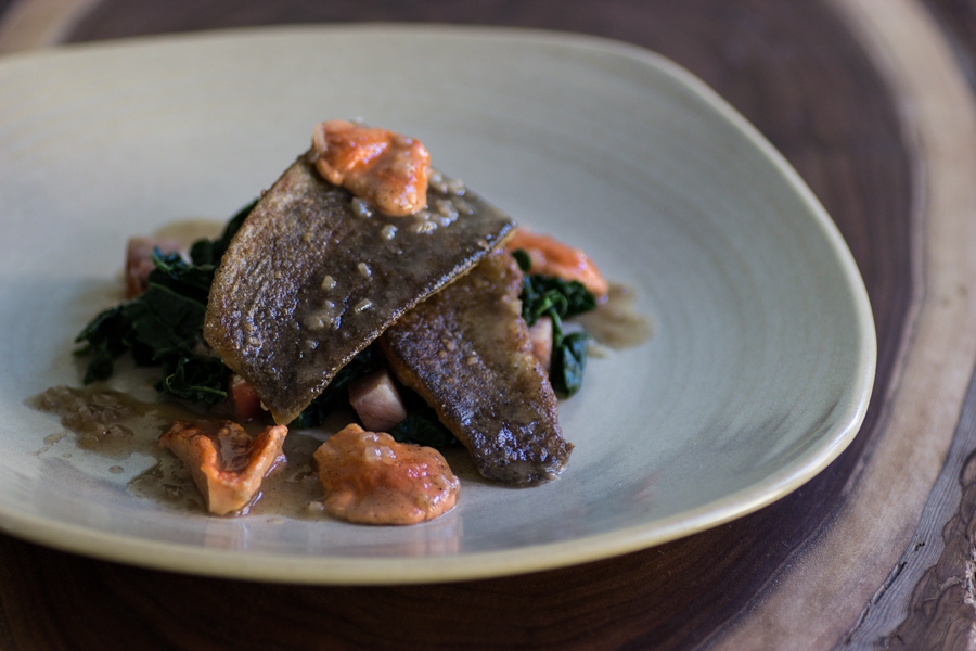 rainbow trout with chicken of the woods mushrooms