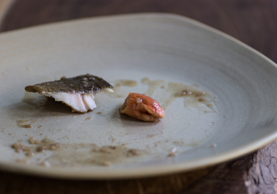 rainbow trout with pickled chicken mushrooms