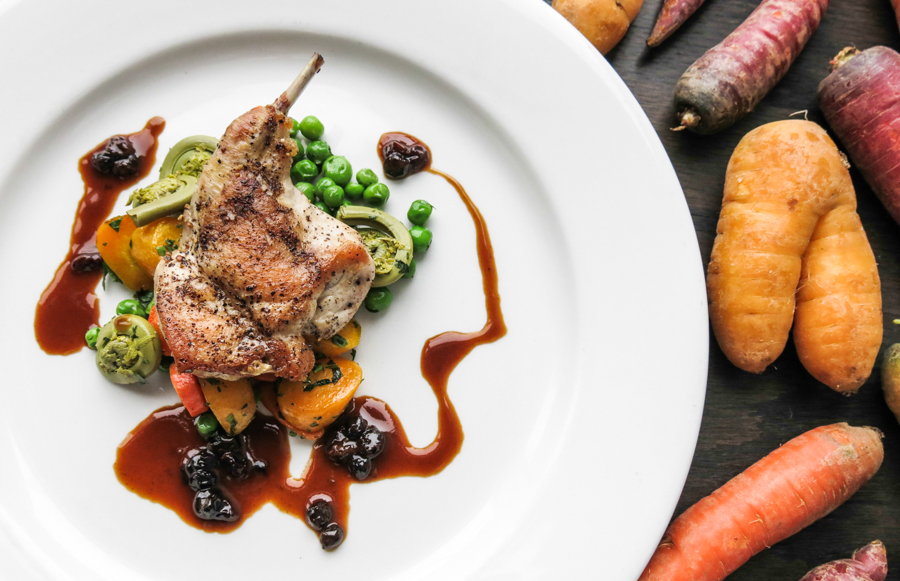 Rabbit with currant glace and vegetables