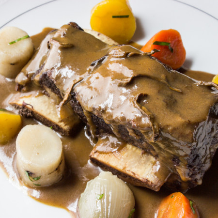 Shortribs braised with boletes and dark beer.