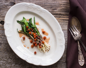 Grilled Ramps With Rowan Berries And Wild Peppermint