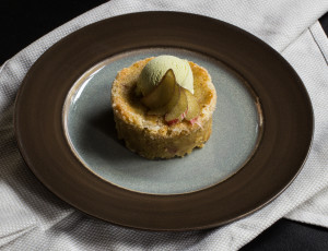 Rhubarb-Hazelnut Cake, With Spruce Tip Ice Cream