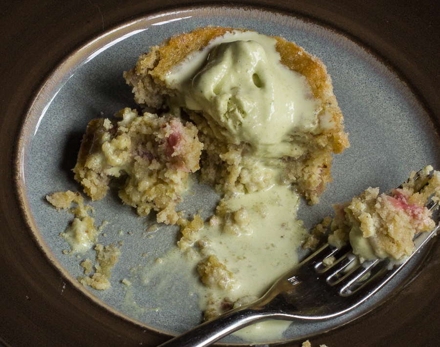 Rhubarb-hazelnut cake with spruce tip ice cream