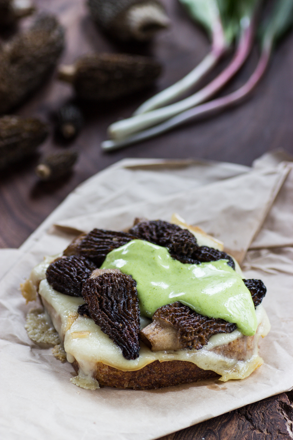 morel grilled cheese with ramp leaf aioli