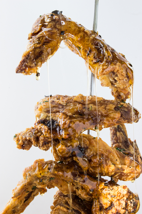 Fried chicken wings with black truffle honey