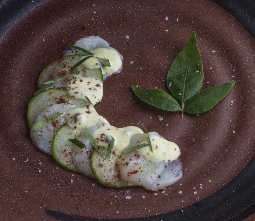 Scallops Crudo With Wild Peppercorn Sauce And Sumac_