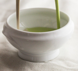 English Pea and Black Trumpet Cream Soup With Purslane