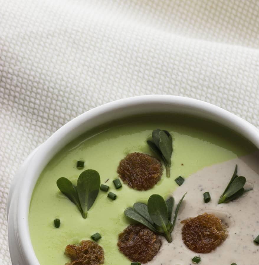 English Pea and Black Trumpet Cream Soup With Purslane