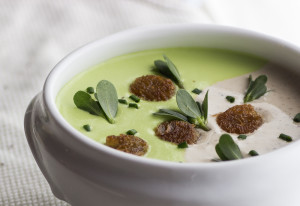 Black Trumpet-Shell Pea Soup, With Purslane