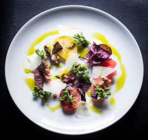 Heirloom Tomato Salad with Pickled Chanterelles and Ramp Leaf Oil