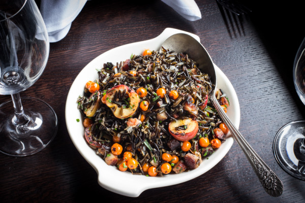 Wild rice with rowan berries, crab apples and bacon_
